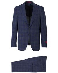 Isaia Gregory Check Suit - Blauw