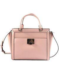 Michael Kors Tina Blossom Leather Large Top Zip Satchel Handbag - Roze