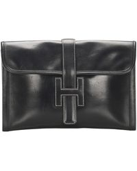 Hermès Jige GM Leather Clutch Bag - Nero