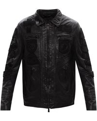 Karl Lagerfeld 'harley' Leather Jacket - Zwart