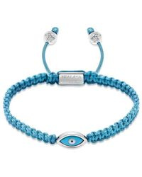 Nialaya Men's Light Blue String Bracelet With Silver Evil Eye - Blauw