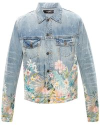 Amiri Denim Jacket With Floral Print - Blauw
