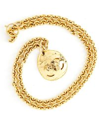 Chanel Vintage Oval Quilted Medallion Long Necklace - Geel