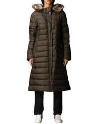 Paul & Shark - Long down jacket with hood and detachable fur closure with double-slider zip and buttons - Lyst