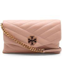 Tory Burch Kira Leather Shoulder Bag - Naturel