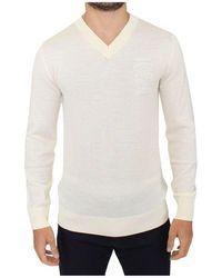 Ermanno Scervino Wool Blend V-neck Pullover Sweater - Weiß