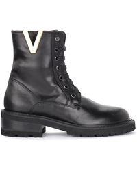 Via Roma 15 Leather Amphibian With Side V - Zwart