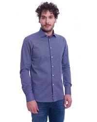 BRANCACCIO Italian Collar Fantasy Slim Fit Shirt - Blauw