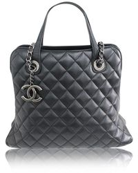 Chanel Quilted Shoulder Bag With Logo - Zwart