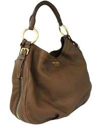 Prada Brown Deerskin Hobo Bag Marrón
