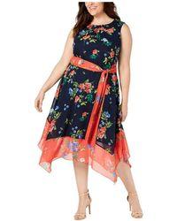 Herno Dress Plus A-line Belted Floral - Zwart