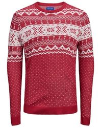 Jack & Jones Fair Isle Sweater - Rood