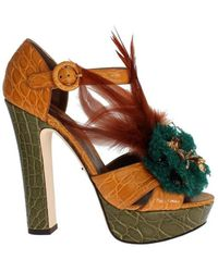 Dolce & Gabbana Caiman Crocodile Leather Crystal Shoes - Oranje