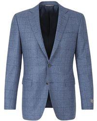 Canali Wool Checkered Jacket - Blauw