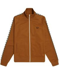 Fred Perry Authentic taped track zip through sweatshirt - Marrón