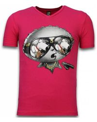 Local Fanatic Stewie Dog - T-shirt - Roze