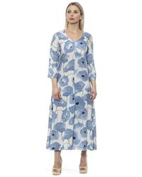 Alpha Studio Chambray Kleid Dress - Blau