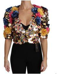 Dolce & Gabbana Crystal Sequined Floral Jacket Coat - Zwart