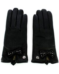 Guess Leather Gloves With Studs - Zwart