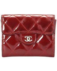Chanel Vintage Cc Tijdloze Lakleren Portemonnee - Rood