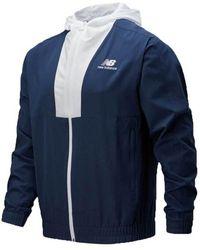 New Balance Mj0150 Full Zip Windbreaker - Blauw