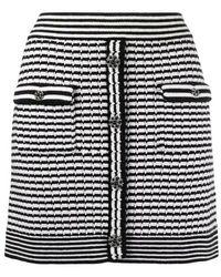 Self-Portrait Monochrome Melange Knit Skirt - Zwart