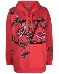 Valentino Vlogo Hoodie With Floral Sequin Embellishments - Rood