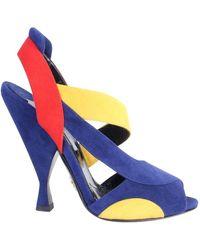 Prada Color Block Suede Sandals - Blauw