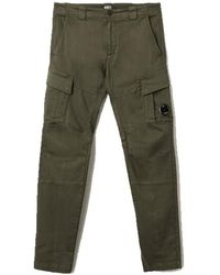 C.P. Company Garment Dyed Stretch Sateen Fitted Lens Pocket Cargo Pants - Verde