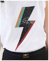 Silvian Heach T-shirt mood rock con volant Blanco
