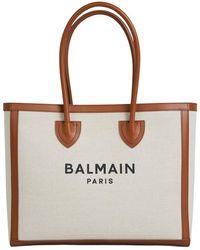 Balmain Logo Canvas Tote Bag - Naturel