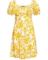 Versace Jeans Couture Baroque Motif Dress - Geel
