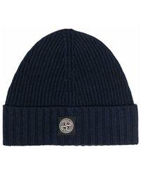 Stone Island Hat With Logo - Blauw