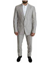 Dolce & Gabbana Single Breasted 2 Piece Linen Napoli Suit - Grau