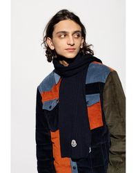 Moncler Wool scarf with logo Azul