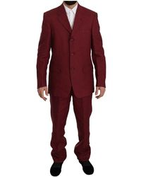 Romeo Gigli Two Piece 3 Button Bordeaux Linen Solid Suit - Rood
