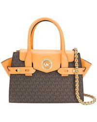 Michael Kors Carmen Small Leather Handbag W / Logo - Bruin