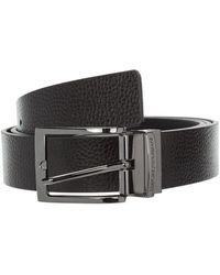 Emporio Armani Men's Adjustable Length Reversible Leather Belt - Zwart