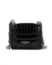 Essentiel Antwerp Croc-effect mini shoulder bag - Noir