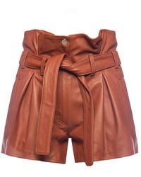The Attico High-waisted Leather Shorts - Bruin