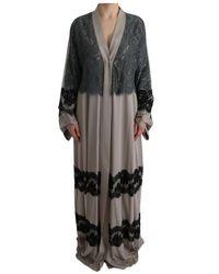 Dolce & Gabbana Floral Applique Lace Kaftan Jurk - Grijs
