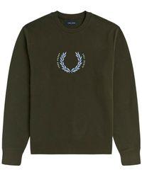 Fred Perry Embroidered logo sweatshirt laurel wreath - Verde