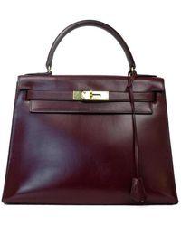 Hermès Kelly en cuir - Rosso