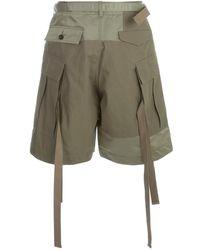 Sacai Oxford Cargo Shorts Verde