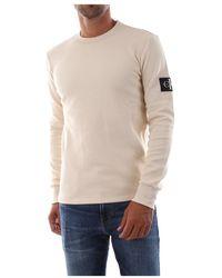 Calvin Klein J30j315607 Monogram Badge T-shirt And Tank Tops - Naturel