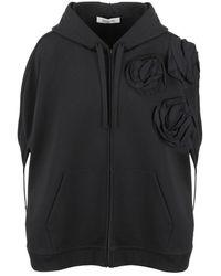 Valentino 3d Roses Hoodie Cape - Zwart