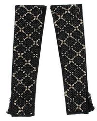 Dolce & Gabbana Leather Crystal Kralen Vinger Handschoenen - Zwart