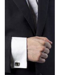 Lanvin Silver cuff links with stone Gris