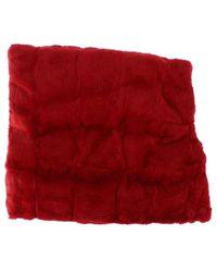 Dolce & Gabbana Weasel Fur Crochet Hood Scarf - Rood