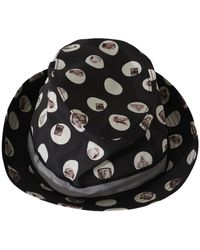 Dolce & Gabbana Musical Instrument Print Fedora Cotton Hat - Zwart